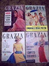1957 'GRAZIA' LOTTO DI 4 RIVISTE DI MODA COSTUME E SOCIETA' NUMERI DI LUGLIO