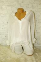 Italy Tunika Bluse Hemd 36 38 40 42 blogger Hippie Boho Style weiß Vintage