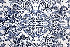 Mexican Oilcloth Fabric PVC Cotton Waterproof Blue Eden 50 Cm X 120 Cm