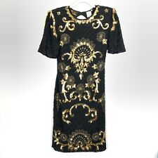 Vintage Black Gold Beaded Sequin Dress Size Small