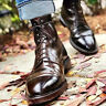 Men All Leather Brown Casual Boot Ankle High Leather Boots