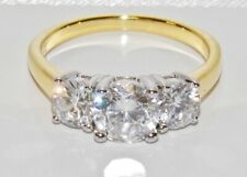 9CT YELLOW GOLD & SILVER 2.00 CARAT 3 STONE ENGAGEMENT RING size i