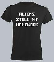 Aliens Stole My Homework Men New Black T-shirt Funny Slogan Student Tee & Tops