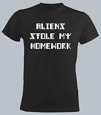 Aliens Stole My Homework Men New Black T-shirt Funny Slogan Student Tops Vinile
