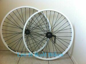 "WHHITE BICYCLE  26"" X 2.125 WHEELSET ALLOY CRUISER LOWRIDER CHOPPER BIKES"