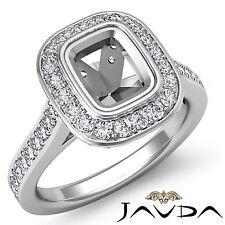 Diamond Engagement Bezel Set Ring Halo 14k White Gold Cushion 0.5Ct Semi Mount