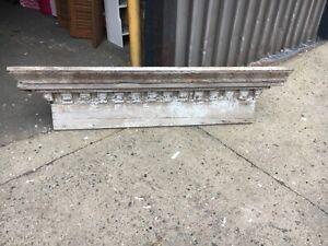 "c1850 window header pediment dentil molding detail 63.5 x 14"" x 8.5"" worn patina"