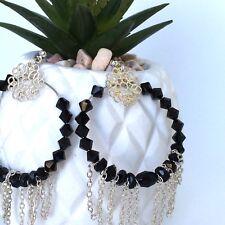 Ella Hoop Earrings - Genuine Swarovski Crystals - Jet - Black - Wedding - Bridal
