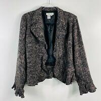 Coldwater Creek Size Medium Tweed Ruffle Trim Blazer Jacket Black Tan Career