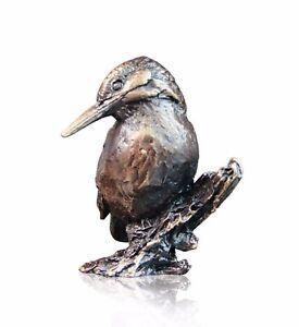Bird Bronze Miniature Sculpture - Kingfisher on Branch - Butler & Peach. 2078
