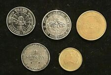 Old gaming arcade machine tokens 5 different