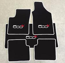 Autoteppich Fußmatten Kofferraum Set für Fiat 500x ab 2014'  weiss rot 5tlg Neu