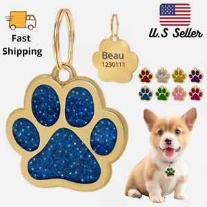 Buy 4 Get 1 Free √ Gold Color Glitter Sparkle Paw Dog Tags Engraved Personalized
