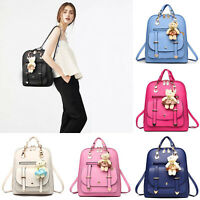 Women's PU Leather Backpack Rucksack School Shoulder Bags Small Handbag Tote