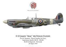 Print Spitfire Mk IX, F/O James Flood, No 421 Squadron RCAF, 1944 (by G. Marie)