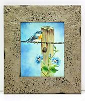Bluebird & Flowers Scene 8 x 10 Oil Painting on Canvas w/Custom Frame