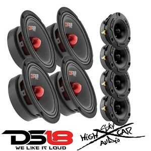 "4 DS18 PRO-GM6B 6.5"" Midrange Car Speakers 4 PRO-TWX1/BK Aluminum Super Tweeters"