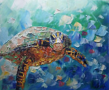 ART 100%Hand-painted Oil Painting Animal sea turtle 16*20inch Decoration canvas