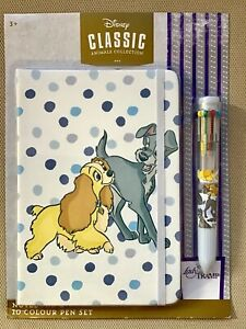 new in sealed packet LADY AND THE TRAMP Notebook + 10 colour Click Pen DISNEY