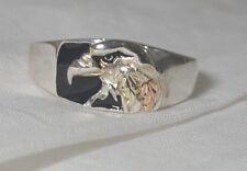 Black Hills RGC 925 12K Onyx Tri Color Eagle Men's Size 12 Ring 5.5 Grams