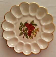 Scalloped Ceramic 15 Cup Deviled Egg Plate Hand Painted Apple  Leaves Twig 1973