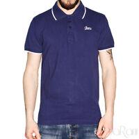 Polo Uomo GURU Sport Cotone Maniche Corte Colletto T-Shirt Blu Tinta unita Slim