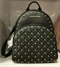US BOUGHT MICHAEL KORS ABBEY MEDIUM WOVEN STUDDED BLACK LEATHER BACKPACK