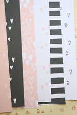 Simple Hearts Card Stock 250gsm Pink Black heart scrapbooking paper backgrounds
