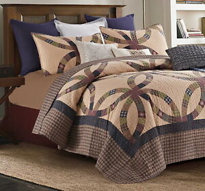 PRIMITIVE WEDDING RING Full Queen QUILT SET : COUNTRY CABIN BROWN BLUE PLAID