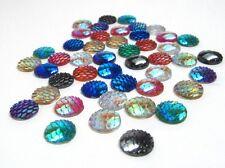 100 pcs. Mix of 8 Colors Mermaid Fish Scales Dragon Cameo Domes Cabochons - 12mm