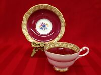 Paragon Vintage Floral Red With Gold Trim Fine Bone China Tea Cup and Saucer
