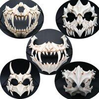 Japanese Dragon God Masks Resin Cosplay Mask White Skull Scary Half Face Masks