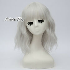 Silver White Curly Lolita Women Bangs Cosplay Heat Resistant 35CM Medium Wig