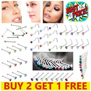 10 x Nose Stud Set I L Screw Shape Silver Ball End Pin Gold Clear Surgical Steel