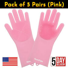 5 Pairs of Pink Silicone Gloves for Dish Washing, Kitchen, Bathroom Cleaning