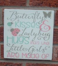 Butterfly kisses & coccinelle hugs nursery little girls shabby vintage signe plaque