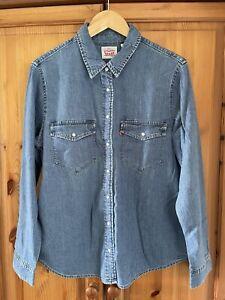 Genuine Ladies Levi's Denim Shirt In Blue Size L