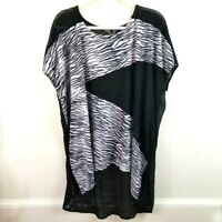 Chico's Travelers Short Sleeve Sheer Back Tunic Blouse Stretch Knit Top Sz Large