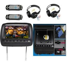 "US Dual 2x9"" LCD Car Pillow Headrest Monitor DVD Player Free 2Wireless Headphone"