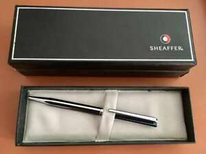SHEAFFER OLYMPIA BALLPOINT PEN (BLACK STRIP CHROME) NEW & UNUSED