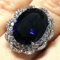 8 Ct Oval Blue Sapphire Ring Women Engagement Jewelry Nickel Free Size 6 to 9