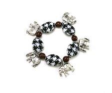Houndstooth Stretch Bracelet with Elephant Charms