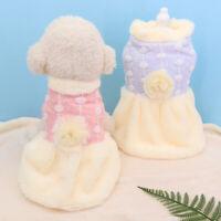 Fleece Hundemantel Mädchen Hundekleid Welpenjacke Hundekleidung Rosa Blau XS-XL