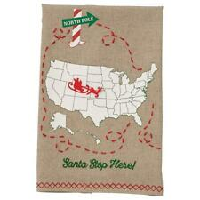 Mud Pie Christmas Santa Stop Here Sleigh Marker Hand Bath Decor Towel