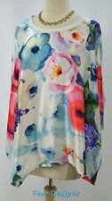 Michael Simon Studio Floral  satin Top shirt blouse aqua knit back S/S SZ L NEW