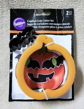 Wilton Comfort Grip Cookie Cutter Set PUMPKIN & BAT Halloween Jack-o-Lantern NEW