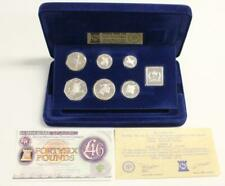 1977 Isle of Man Silver Proof 7 Coin Set Pobjoy Mint Blue Case COAs Sterling