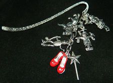 Handmade Silver Wizard of OZ Bookmark Charms Dorothy Lion Toto Tinman Scarecrow