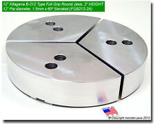 """12"""" Aluminum Full Grip Round Jaws (0.827"""" Groove) Fit B-212 Type Chuck (2.0"""" HT)"""