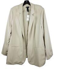 NEW Lane Bryant Open Front Trench Jacket Womens Size 26/28 3X/4X Beige Lagenlook